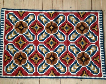 Vintage embroidered table runner Geometric runner Swedish folk runner Scandinavian vintage embroidered runner