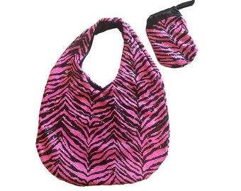 Candy Zebra - Chic Foldup Tote, Pink Zebra Sequin Bag