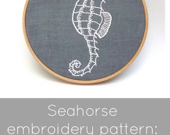 Seahorse Embroidery Pattern - Digital Download