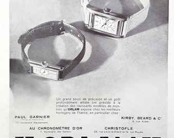 Orlam watches vintage ad, 1932 French art deco vintage advertising, watches poster, Orlam magazine ad, watches retro poster collectible ad