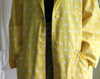Oversized Yellow Trench Coat with polka dots - Vintage