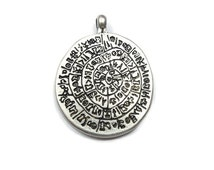 Wiccan charms, Large Rune Medallion Pendant, Silver Plated Magical Pagan Runes Pendant, Rune Alphabet Wiccan Charms - CCS004-C