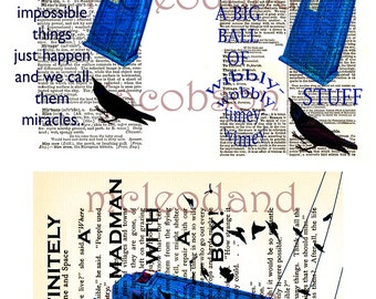 Who Tardis instant download vintage dictionary art Time Miracles whovian quotes 8.5 print two 4x6 images one 5x7 image wall art home decor