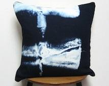 Shibori pillow, Shibori cushion, Denim pillow, Denim cushion, Pillow with piping, Cushion with piping, Indigo pillow, Indigo cushion