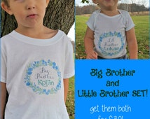 Big Brother Little Brother Set Sibling Take Home Oufit Big Brother and Matching Little Brother Shirts Matching Sibling Set Baby Shower Gift