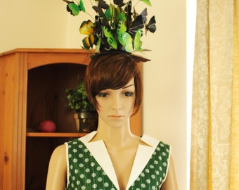 Green and Black Butterflies High Avant Garde HeadPiece Headdress Photography Props