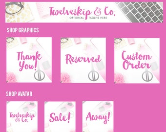 Etsy Shop Banner Set / Pink Etsy Shop Banner / Branding / Store Graphics, Avatar, Custom Listing, Reserved, Sale, Banner