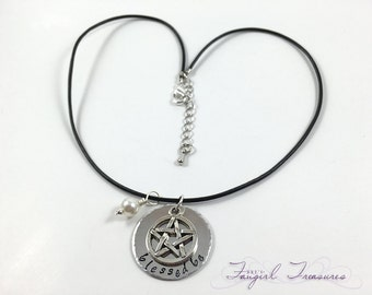 Blessed Be Pentacle Hand Stamped Pagan Wiccan Charm Necklace