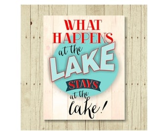 Lake Decor, Refrigerator Magnet, Fridge Magnets, What Happens at the Lake,Lake House Decor, Cute Fridge Magnet, Gifts Under 10, Lake Life
