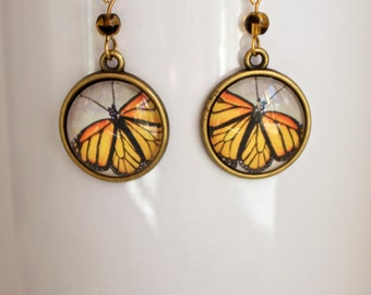 Golden Monarch Butterfly Earrings Antique Brass Finish Pierced Ear Dangle Earrings with Bead