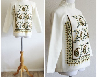 Vintage 50's 60's MOD Graphic Acrylic Mock Turtle Neck Paisley Sweater Neck Zip by AGASHI
