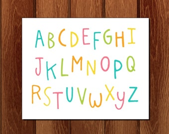 Colorful alphabet printable nursery art, Instant Download