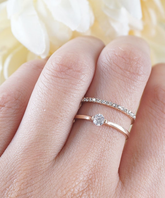 Double crystal ring minimalist simple everyday by for Wedding ring minimalist