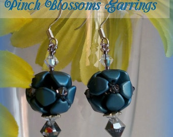 TUTORIAL:  Pinch Blossoms Beaded Flower Snowball Hydrangea Earrings Czech Beads Tutorial Pattern