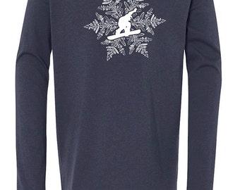 Snowboarder & snowflake shirt, Christmas and holiday shirt for kids.