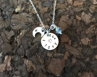 I Love You To The Moon & Stars Sterling Silver Necklace