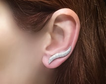 Curled ear climber sterling silver earrings ear crawler ear cuffs ear wraps white cz curled ear pins earcuffs