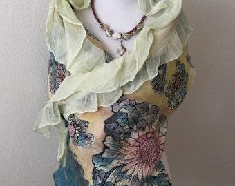 Nuno felting Scarf Felted scarf Accessories Merino wool Silk Gift  Scarf for all seasons Woman Scarf  Wet Felting - Women's Accessories