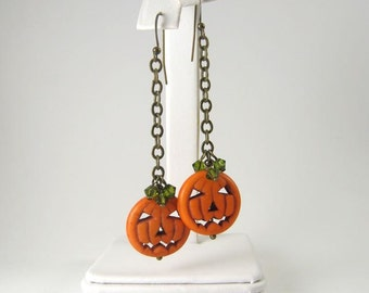 Halloween Earrings, Pumpkin Earrings