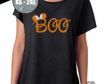 GLITTER Disney Halloween Shirt Minnie Boo Tri Blend Dolman Tee 67-00-60 - Vintage Black - orange/white Glitter