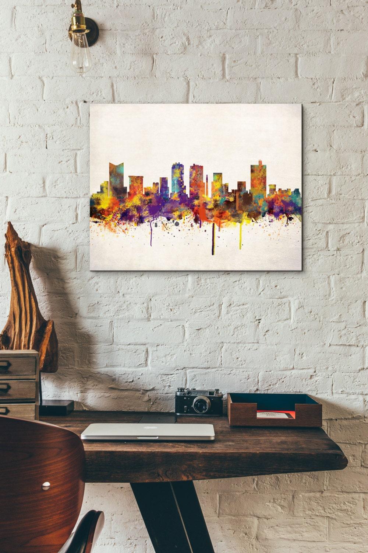 Fort Worth City Skyline Digital Watercolor Art Print Modern