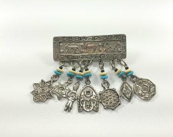 Egyptian Revival Brooch, Pharaoh Brooch, Dangle Brooch, Egyptian Amulet Symbol, Ancient Egyptian Jewelry, Coin Brooch, Pyramid, Christ Light