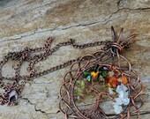 Quartz Tourmaline Moonstone Goldfinch Seasons Tree of Life Pendant