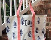 Monogram Canvas Open Top Tote, Ginger Jar Bag, Monogrammed Canvas Tote Bag, Beach Bag, Boat Tote, Personalized Canvas Bag