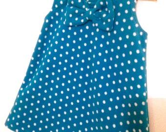 Baby Girls Winter Fleece Pinafore Dress - Teal Polka Dots SALE DISCONTINUED