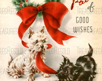 Retro Scottie Terrier Dogs Christmas Card #419 Digital Download