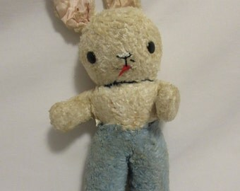 GUND Blue and White Bunny, Late 1940's - Early 1950's