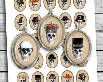 Skulls in Hats Oval Digital Cabochon 30x40 22x30 18x25 13x18 Digital Collage Sheet Instant Download