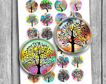 Tree of Life Printable Circles 1 inch, 25mm, 30mm, 1.5 inch for Glass Pendants, Bottlecaps Digital Collage Sheet Instant Download