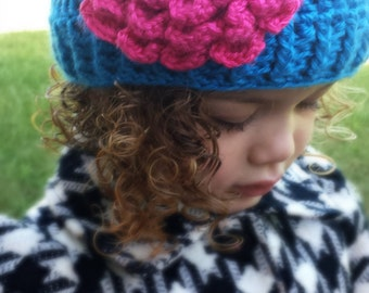 Crochet toddler Flower Beanie in Pink & Blue