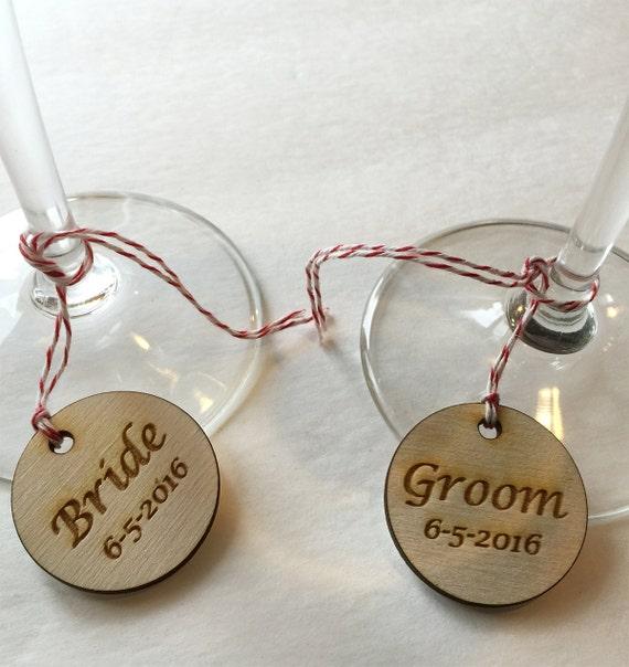 Personalized Wedding Wine Glass Charms : Custom Charms for Wedding Wine Glasses - wedding tag, wood charms ...