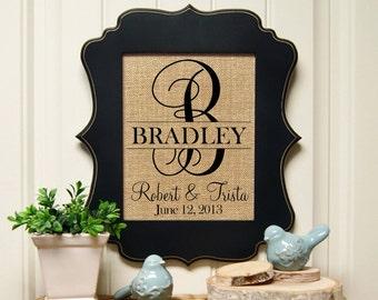 Bridal Shower Deocration | Personalized Burlap Print | Wedding Gift | Wedding Gift for Couple | Burlap Wedding Decoration | Bridal Shower