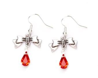 Silver Bow Earrings   Red beaded Bow Earrings   Sterling Silver Bow Charm Earrings   Dangle Earrings