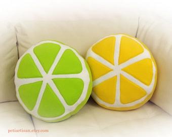 Set of 2 Pillows, Lemon and Lime Pillows, Citrus Pillow, Food Pillow, Fruit Pillow, Toy Pillow, 3D Pillow