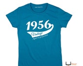 60th Birthday Gift For Woman 1956 Vintage T shirt ideal present for women celebrating a sixtieth birthday, Utter Apparel