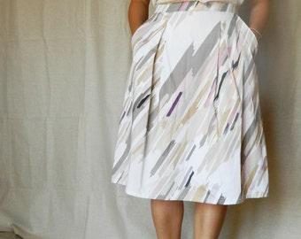 Pleated skirt - cotton skirt - knee length skirt - printed - handmade