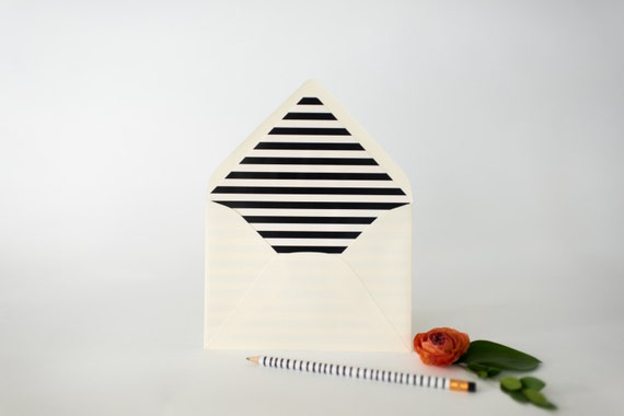 thick horizontal stripe lined envelopes (25 color options) - sets of 10