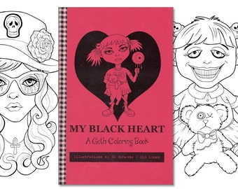 adult coloring book goth girls, gothic coloring pages, cute goths lineart, alternative coloring pages by SLS Lines, 12 page handmade book