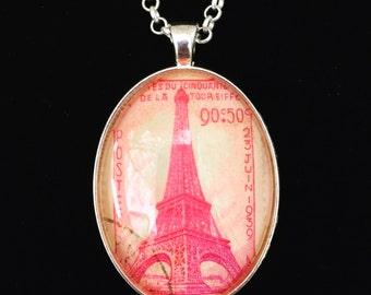 Paris Postage Stamp Necklace