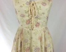 Womens Vintage Dreamy Gunne Sax Floral Print Maxi Dress with Lace Up Bodice and Lace Trim size 6