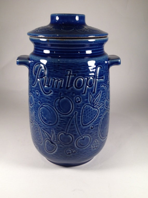 Vintage Large Cobalt Blue Rumptopf Rum Pot Cookie Jar