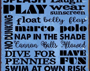 Sun Protected Pool Rules Blue Metal Sign, Motivational Rules, Swimming Pool Sign, Positive Thinking HB7056-BSP