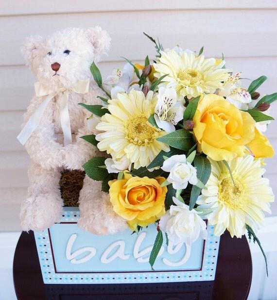 baby shower arrangement flower arrangement teddy bear its a boy