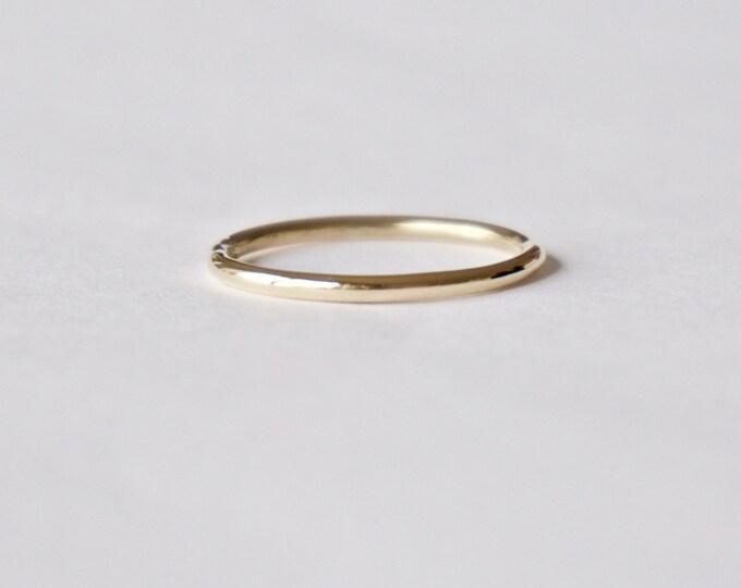 Yellow Gold Halo Ring - Unique Wedding Band - Organic Shape - Thin Ring - Men's Women's - Unisex - Polished or Matte Finish 18k Gold