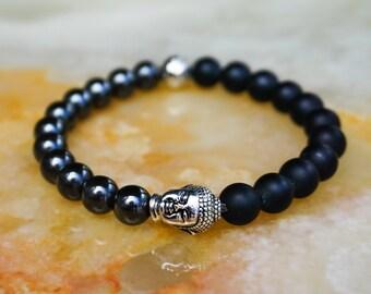 Mens Bracelet,Mens Jewelry,Onyx Bracelet,Mens Bracelet,Gift for Him,Buddha Head Bracelet,Black Bracelet,Hematite Bracelet
