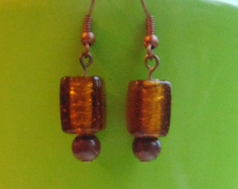 Foil Effect Amber Lampwork Earrings